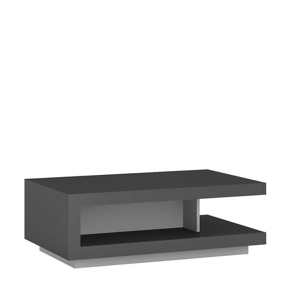 Metropolis Designer coffee table in Platinum/light grey gloss